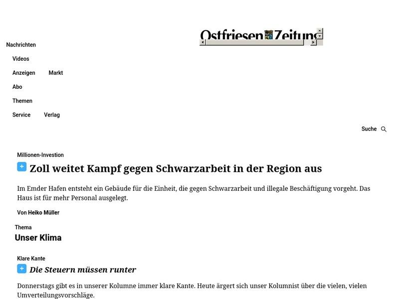 Screenshot von www.oz-online.de